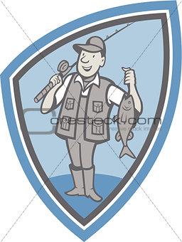 Fly Fisherman Showing Fish Catch Cartoon