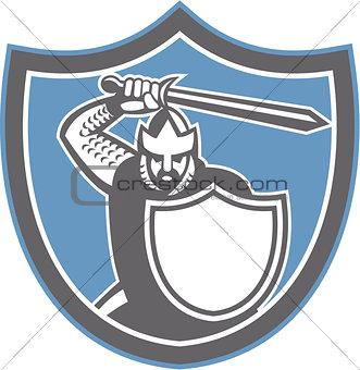 Crusader Knight Brandish Sword Shield Retro