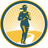 Female Marathon Runner Circle Retro