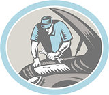 Auto Mechanic Car Repair Woodcut Retro