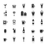 Drink icons with reflect on white background