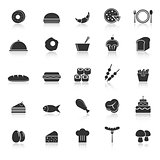 Food icons with reflect on white background