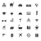 Hotel icons with reflect on white background
