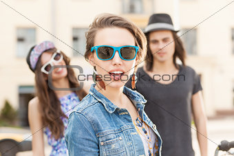 beautiful young people on city background
