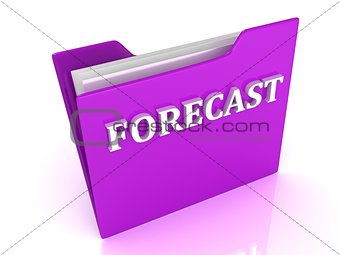 FORECAST bright white letters on a lilac folder