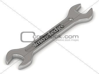Knowledge - 3d inscription bright volume letter on spanner
