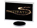 MOTIVATION 3d inscription with luminous spark on screen