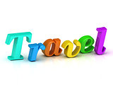 Travel 3d inscription bright volume letter