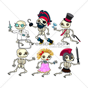 Group of funny skeletons.