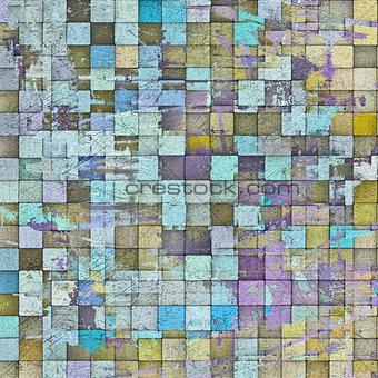 3d abstract mosaic pattern grunge gray wall backdrop