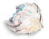 Crumpled Sheet Of Newspaper