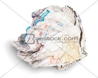 Crumpled Sheet Of Newspaper