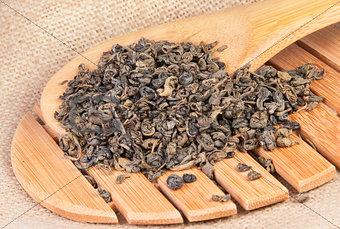 Green Tea On A Wooden Lattice