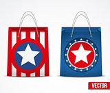Set of Shopping bag with USA flag.