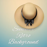 Background of summer time. Vintage beach round Hat.