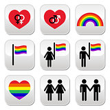 Gay and lesbian couples, rainbow vector buttons set