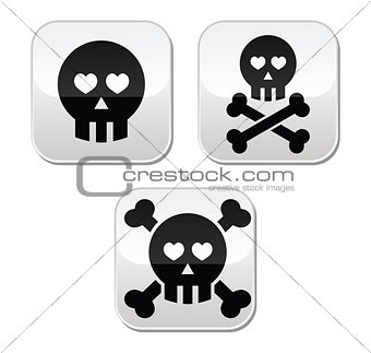 Cartoon skull with bones and hearts vector buttons set