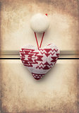 Macro retro cross processed effect image of Christmas heart on w