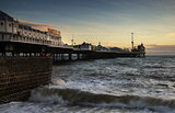 Winter sunset over Victorian pier in Brighton.
