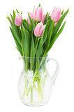 pink tulips bouquet in vase