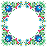 Polish floral folk embroidery frame pattern - wzory lowickie