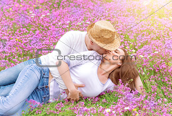 Kisses on spring meadow