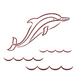 Contour of a dolphin in red and black colors