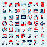 Retro flat communication icons set