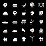 Food icons with reflect on black background