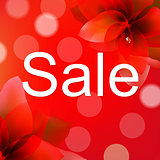 Red Sale Poster With Flower