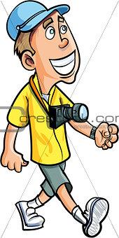 Cartoon smiling tourist with a camera