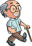 Cartoon Grandfather walking with a stick