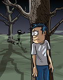 Cartoon of scared man in the woods hiding