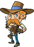 Cute cowboy cartoon with mustache