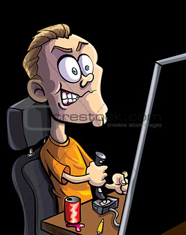 Cartoon teen playing computer game
