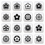 Flower head vector buttons set