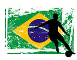 soccer player in front of the Brazil flag