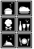 set black icons with restaurant objects