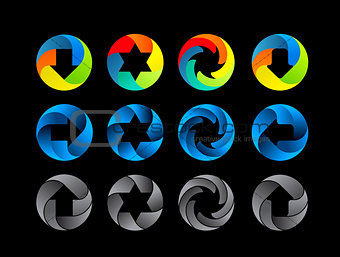 Abstract color icon set.