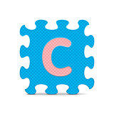 "Vector letter ""C"" written with alphabet puzzle"