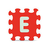 "Vector letter ""E"" written with alphabet puzzle"