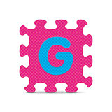 "Vector letter ""G"" written with alphabet puzzle"