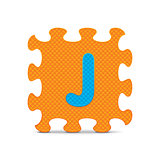 "Vector letter ""J"" written with alphabet puzzle"