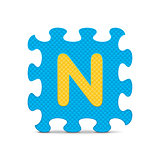 "Vector letter ""N"" written with alphabet puzzle"