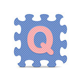 "Vector letter ""Q"" written with alphabet puzzle"