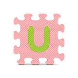 "Vector letter ""U"" written with alphabet puzzle"