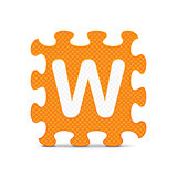 "Vector letter ""W"" written with alphabet puzzle"