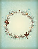 Decorative vintage hand drawn wreath