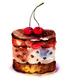 Watercolor illustration of cake with cherry