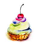 Original watercolor illustration of cake